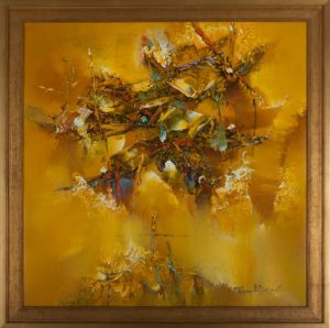 "Golden Boats. 26.5"" x 26.5"". Framed. Oil on canvas. By Truong Minh Du"