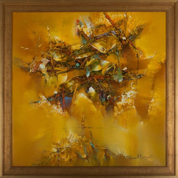 """Golden Boats. 26.5"""" x 26.5"""". Framed. Oil on canvas. By Truong Minh Du"""