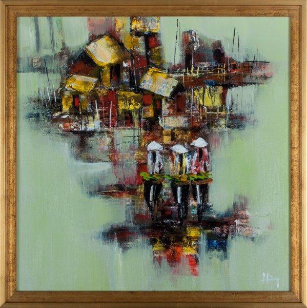 """Homeward Bound. 21.5"""" x 21.5"""". Framed. Oil on canvas"""