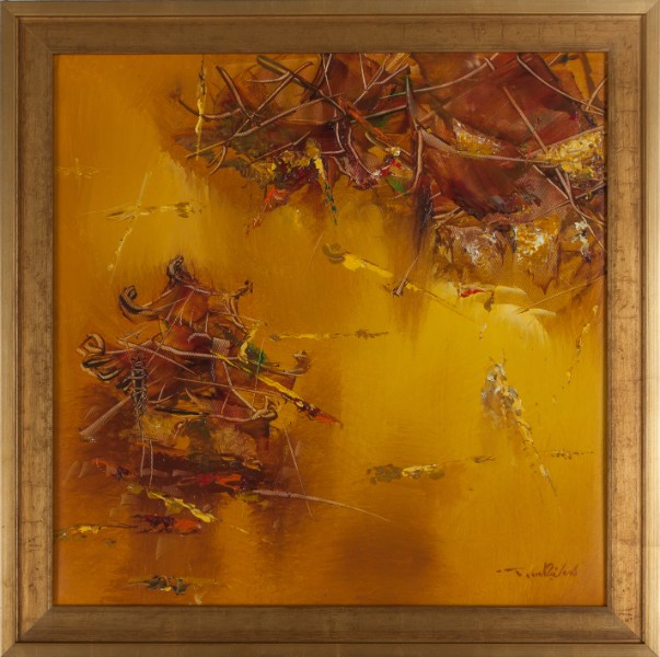 """Gold Temple. 22.75"""" x 22.5"""". Framed. Oil on canvas. By Truong Minh Du"""