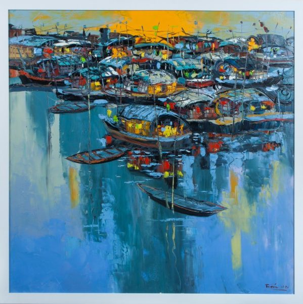 "Village Boats. 33.25"" x 33"". Framed. Oil on canvas. By Quyen Tran"