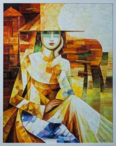 "The Vietnamese Lady. 29.25"" x 36.5"". Framed. Oil on canvas. By Hong"