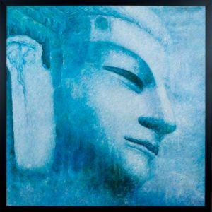 """The Blue Buddha. 40.5"""" x 40.5"""". Framed. By Hong"""