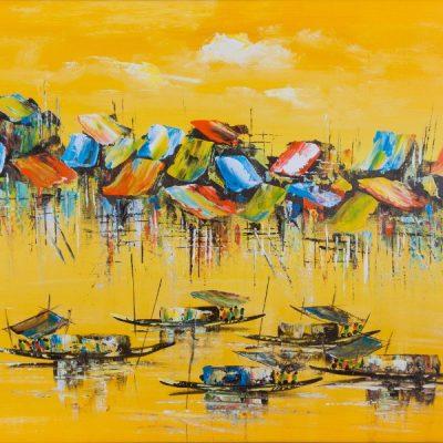 """Fishing Village (31"""" x 23.5"""")"""