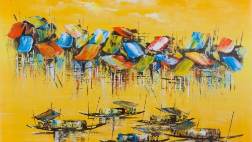 "Fishing Village (31"" x 23.5"")"