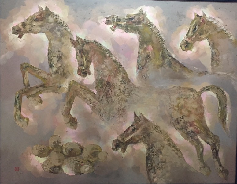 "Stallions. 58.5"" x 47"". Framed. Japanese oil on canvas. By Tran Van Tam"